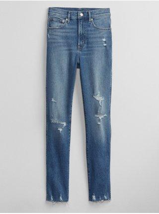 Modré dámské džíny high rise cigarette