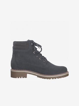 Modré semišové členkové topánky Tamaris