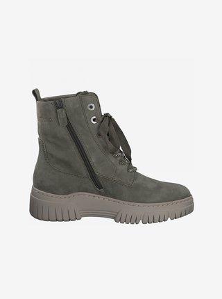 Zelené semišové členkové topánky Tamaris