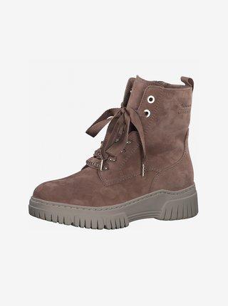 Starorůžové semišové kotníkové boty Tamaris