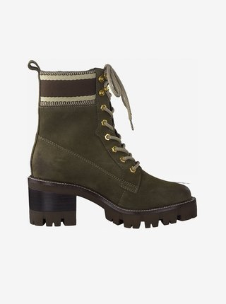 Khaki semišové kotníkové boty Tamaris