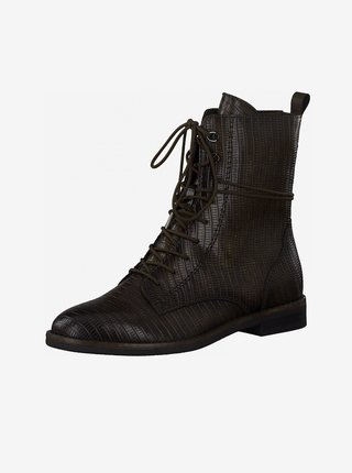 Tmavě hnědé kotníkové boty Tamaris