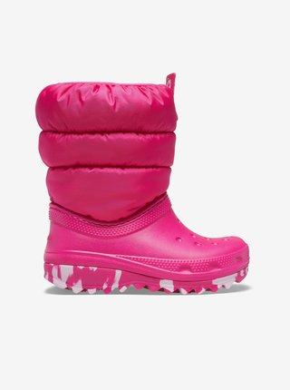 Tmavoružové dievčenské snehule Crocs