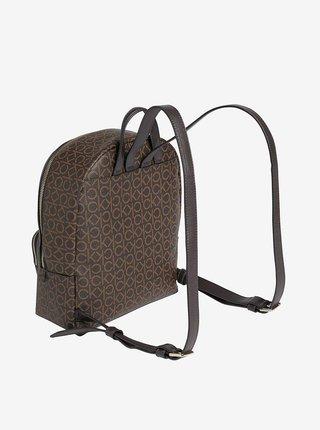 Tmavě hnědý dámský vzorovaný batoh Calvin Klein