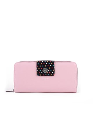 Černo-růžová dámská malá vzorovaná peněženka VUCH Dua Dahlia