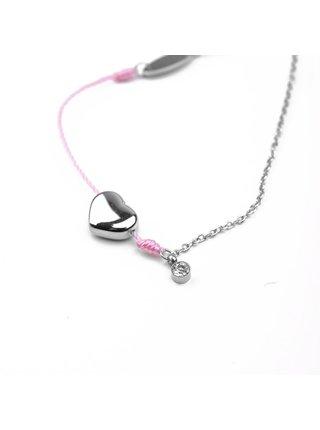 Dámský náramek s motivem srdce v růžovo-stříbrné barvě VUCH Shiny Heart Pink