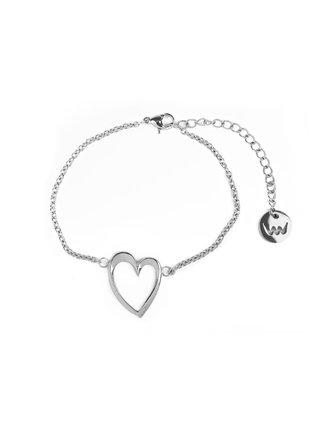 Dámský náramek s motivem srdce ve stříbrné barvě VUCH Little Desire Silver