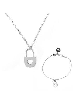 Sada dámského náramku a náhrdelníku s motivem zámku ve stříbrné barvě VUCH Secret Silver Couple