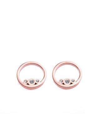 Dámské náušnice s motivem kroužků v růžovo-zlaté barvě VUCH Ringy Rose Gold
