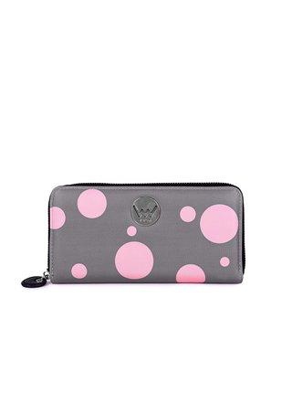 Růžovo-šedá dámská velká puntíkovaná peněženka VUCH Debora
