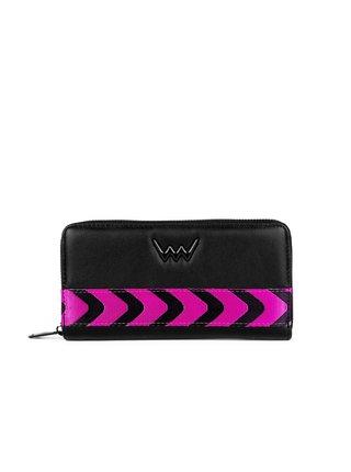 Černá dámská velká peněženka s černo-růžovým pruhem VUCH Nora