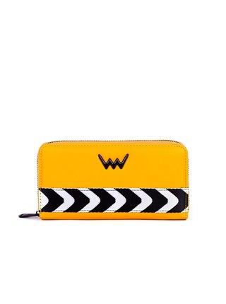 Žlutá dámská velká peněženka s černo-bílým pruhem VUCH Verona