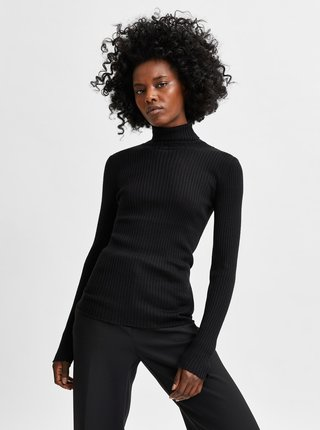 Černý žebrovaný rolák s příměsí vlny Selected Femme Costina