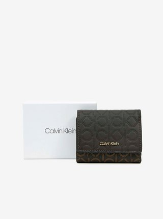 Hnědo-černá dámská malá peněženka Calvin Klein