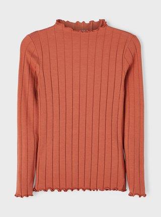 Oranžové žebrované holčičí tričko name it Noralina