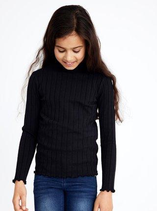 Černé žebrované holčičí tričko name it Noralina