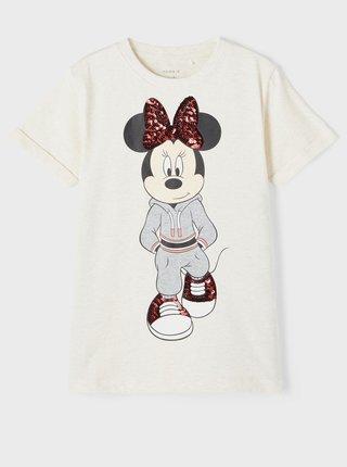 Krémové holčičí tričko s potiskem name it Minnie