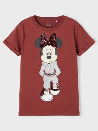 Vínové holčičí tričko s potiskem name it Minnie