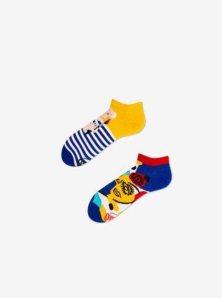 Modro-žluté unisex vzorované kotníkové ponožky Many Mornings Picassocks
