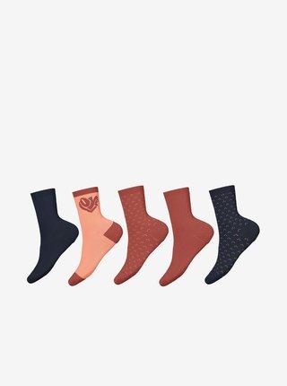 Sada pěti párů holčičích ponožek v modré a cihlové barvě name it Vilde