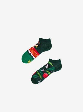 Tmavě zelené unisex vzorované kotníkové ponožky Many Mornings Feel Frida