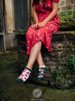 Zeleno-růžové unisex vzorované ponožky Many Mornings Cherry Blossom