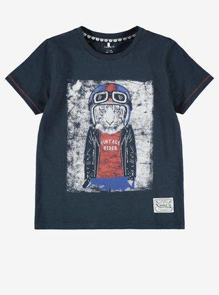Tmavě modré klučičí tričko s potiskem name it Nelmet