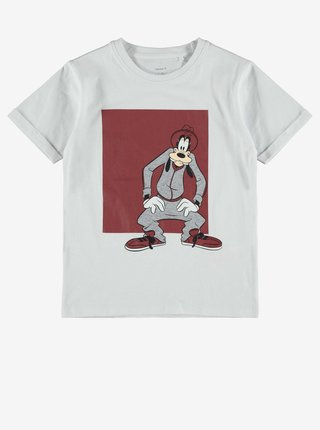 Biele chlapčenské tričko s potlačou name it Goofy