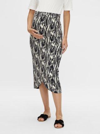 Krémovo-černá těhotenská vzorovaná sukně Mama.licious Sebra