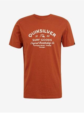 Tričká s krátkym rukávom pre mužov Quiksilver - hnedá, oranžová