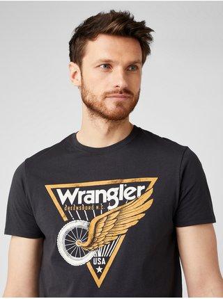 Tričká s krátkym rukávom pre mužov Wrangler - čierna