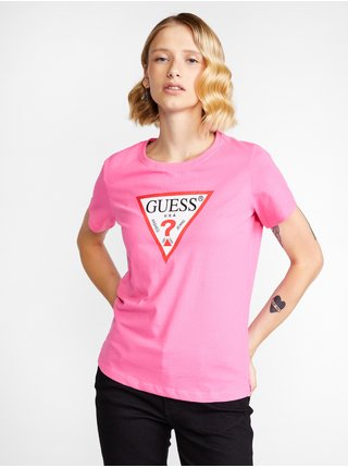 Tričká s krátkym rukávom pre ženy Guess - ružová