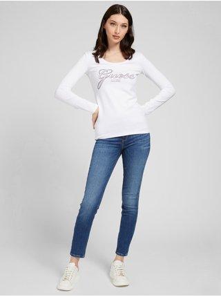 Tričká s dlhým rukávom pre ženy Guess - biela