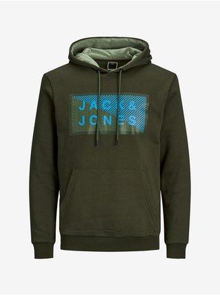 Mikiny s kapucou pre mužov Jack & Jones - zelená