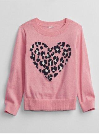 Růžový holčičí svetr srdce