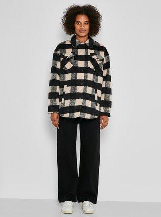 Béžovo-čierna kockovaná košeľová bunda Noisy May Lulu