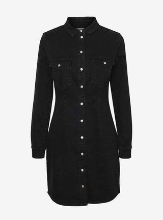 Čierne rifľové košeľové šaty Noisy May Joy