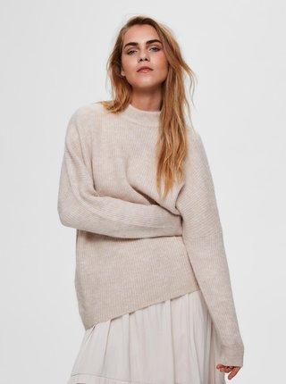 Krémový voľný vlnený sveter Selected Femme Fulu