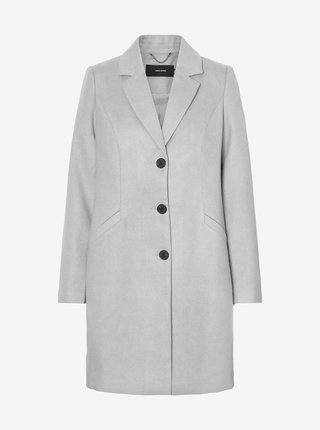Světle šedý kabát VERO MODA Calacindy