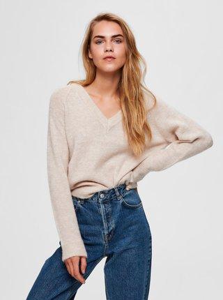 Krémový vlněný svetr Selected Femme Lulu