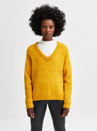 Žlutý vlněný svetr Selected Femme Lulu
