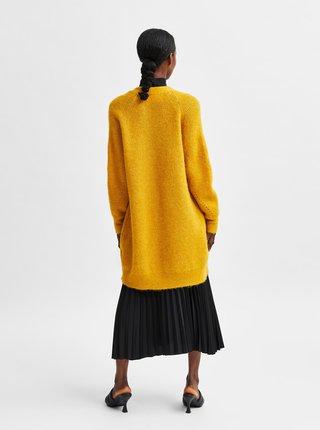Žlutý kardigan s příměsí vlny z alpaky kardigan Selected Femme Lulu