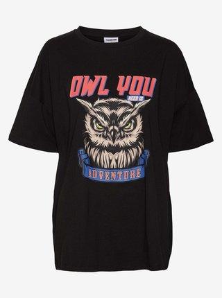 Černé volné tričko s potiskem Noisy May Mida