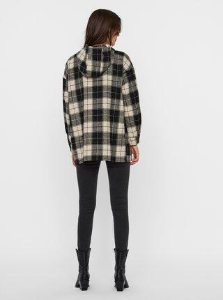Béžovo-čierna kockovaná košeľová bunda Noisy May Lanny