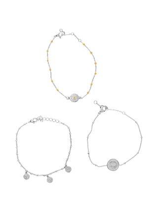 Sada tří náramků ve stříbrné barvě Pieces Ara