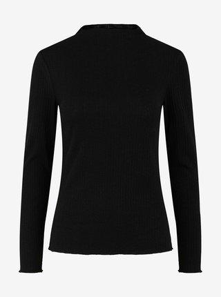 Černé žebrované tričko Pieces Esmeralda