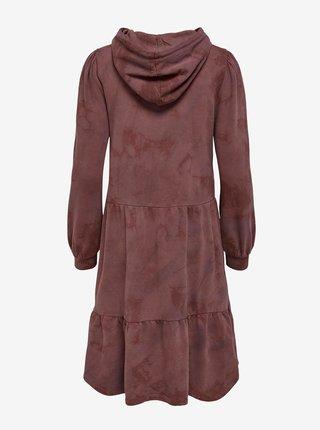 Vínové mikinové šaty s kapucí Jacqueline de Yong Fia