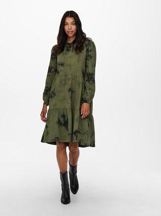 Khaki mikinové šaty s kapucí Jacqueline de Yong Fia