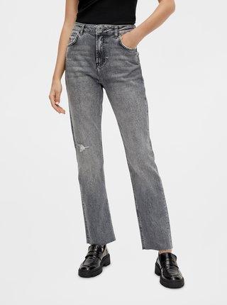 Šedé straight fit džíny Pieces Eda
