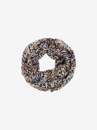 Béžovo-černý vzorovaný šátek Pieces Faye